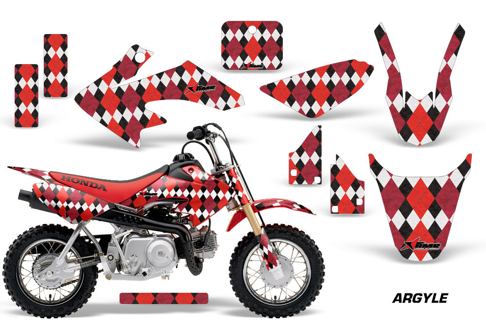 Dirt Bike Graphics Kit Decal Wrap For Honda CRF50 CRF 50 2004-2013 ARGYLE RED-atv motorcycle utv parts accessories gear helmets jackets gloves pantsAll Terrain Depot