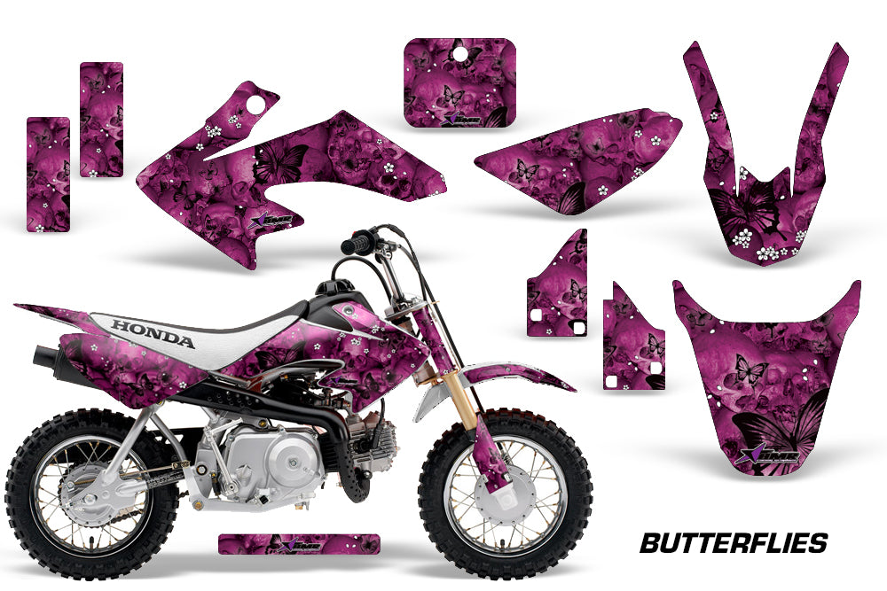 Dirt Bike Graphics Kit Decal Wrap For Honda CRF50 CRF 50 2014-2018 BUTTERFLIES BLACK PURPLE-atv motorcycle utv parts accessories gear helmets jackets gloves pantsAll Terrain Depot