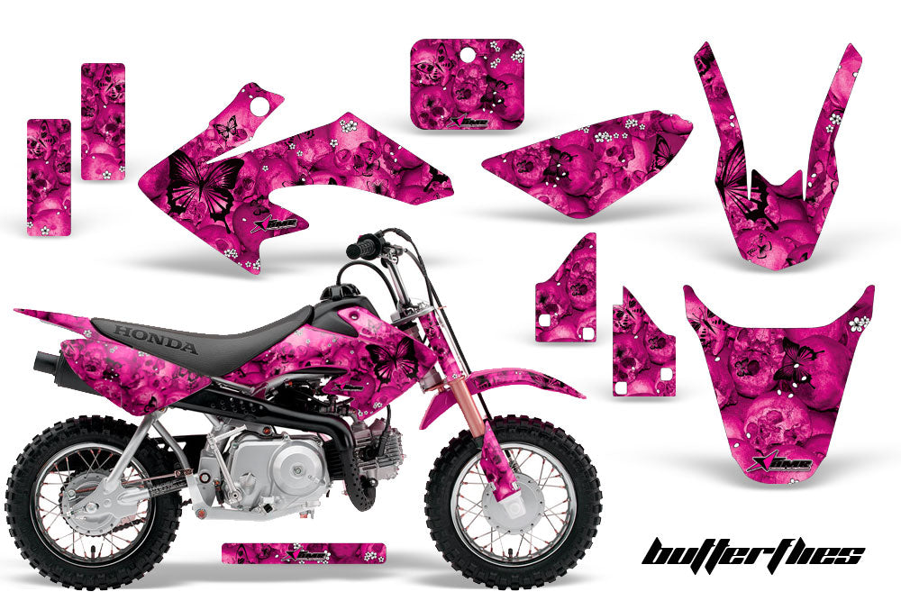 Dirt Bike Graphics Kit Decal Wrap For Honda CRF50 CRF 50 2014-2018 BUTTERFLIES BLACK PINK-atv motorcycle utv parts accessories gear helmets jackets gloves pantsAll Terrain Depot