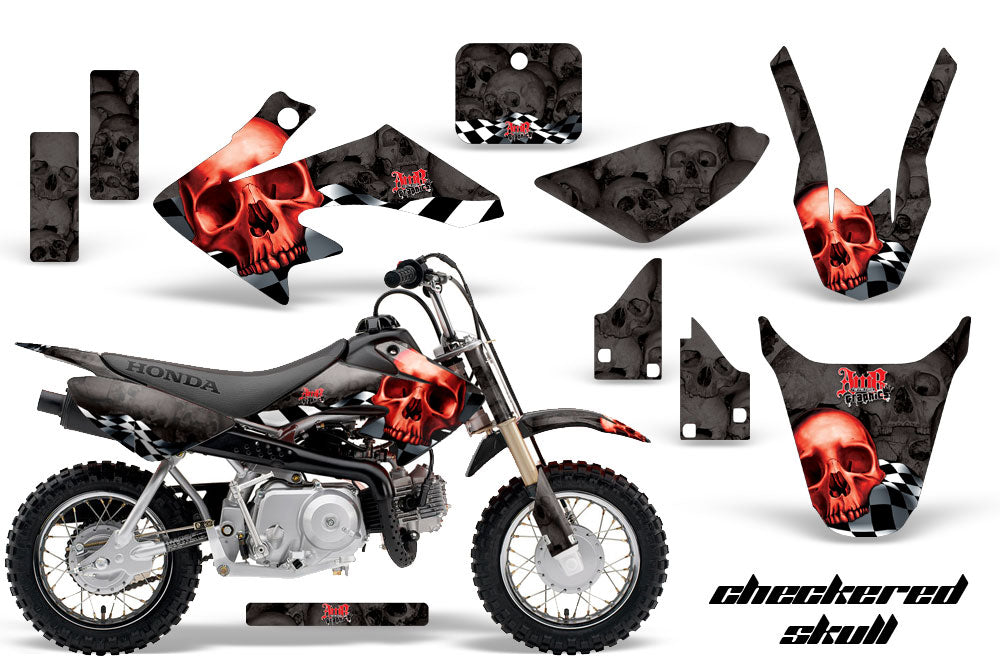 Dirt Bike Graphics Kit Decal Wrap For Honda CRF50 CRF 50 2014-2018 CHECKERED RED BLACK-atv motorcycle utv parts accessories gear helmets jackets gloves pantsAll Terrain Depot