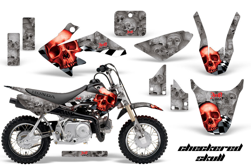 Dirt Bike Graphics Kit Decal Wrap For Honda CRF50 CRF 50 2014-2018 CHECKERED RED SILVER-atv motorcycle utv parts accessories gear helmets jackets gloves pantsAll Terrain Depot
