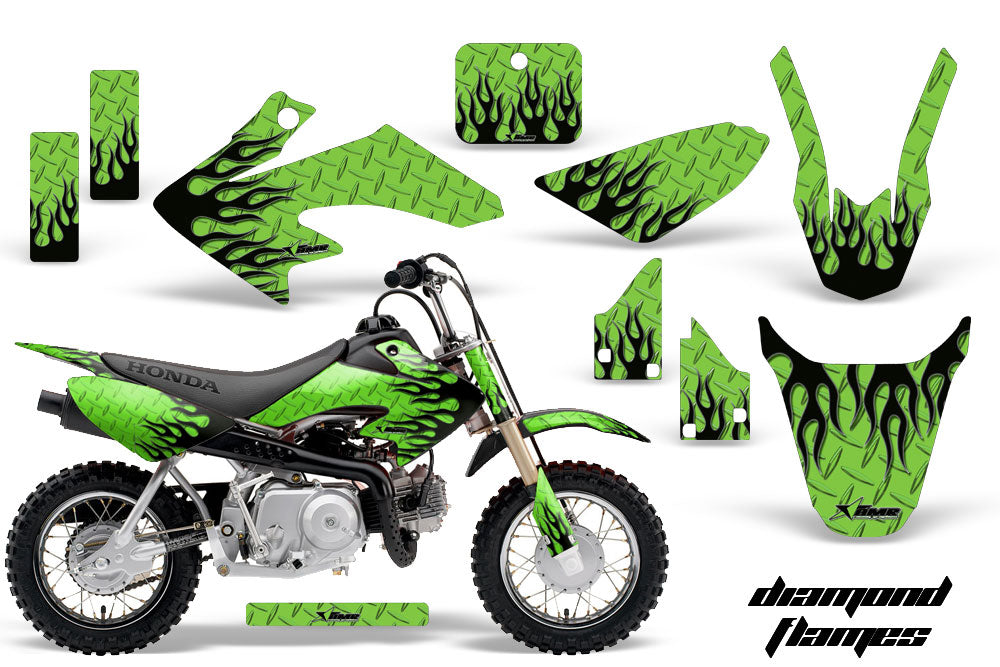 Dirt Bike Graphics Kit Decal Wrap For Honda CRF50 CRF 50 2004-2013 DIAMOND FLAMES BLACK GREEN-atv motorcycle utv parts accessories gear helmets jackets gloves pantsAll Terrain Depot