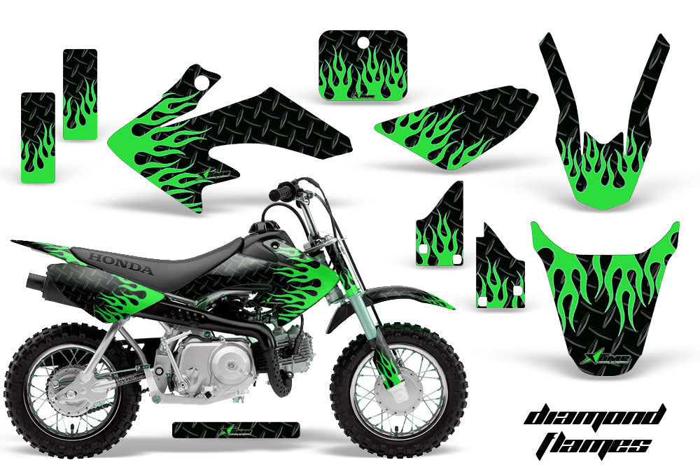 Dirt Bike Graphics Kit Decal Wrap For Honda CRF50 CRF 50 2014-2018 DIAMOND FLAMES GREEN BLACK-atv motorcycle utv parts accessories gear helmets jackets gloves pantsAll Terrain Depot