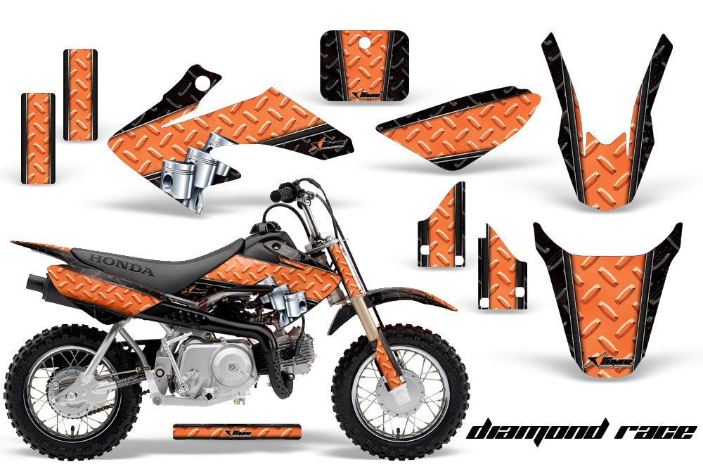 Dirt Bike Graphics Kit Decal Wrap For Honda CRF50 CRF 50 2004-2013 DIAMOND RACE ORANGE BLACK-atv motorcycle utv parts accessories gear helmets jackets gloves pantsAll Terrain Depot