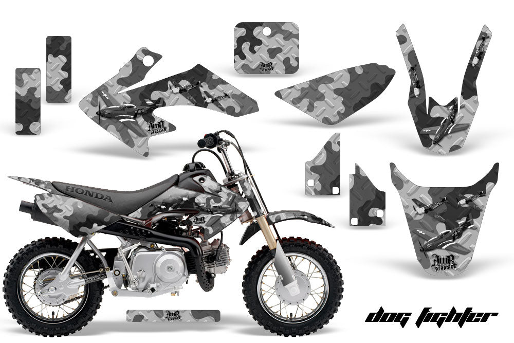 Dirt Bike Graphics Kit Decal Wrap For Honda CRF50 CRF 50 2014-2018 DOG FIGHT BLACK-atv motorcycle utv parts accessories gear helmets jackets gloves pantsAll Terrain Depot