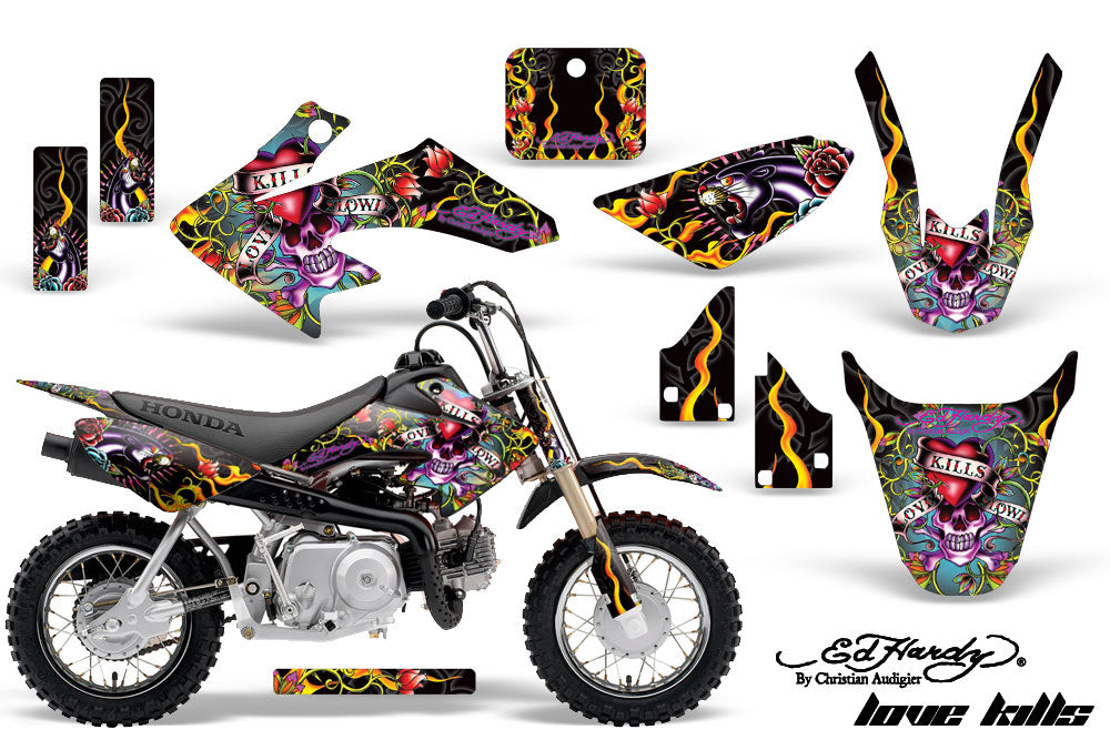 Dirt Bike Graphics Kit Decal Wrap For Honda CRF50 CRF 50 2004-2013 EDHLK BLACK-atv motorcycle utv parts accessories gear helmets jackets gloves pantsAll Terrain Depot