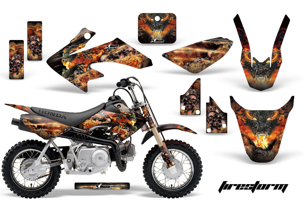 Dirt Bike Graphics Kit Decal Wrap For Honda CRF50 CRF 50 2014-2018 FIRESTORM BLACK-atv motorcycle utv parts accessories gear helmets jackets gloves pantsAll Terrain Depot