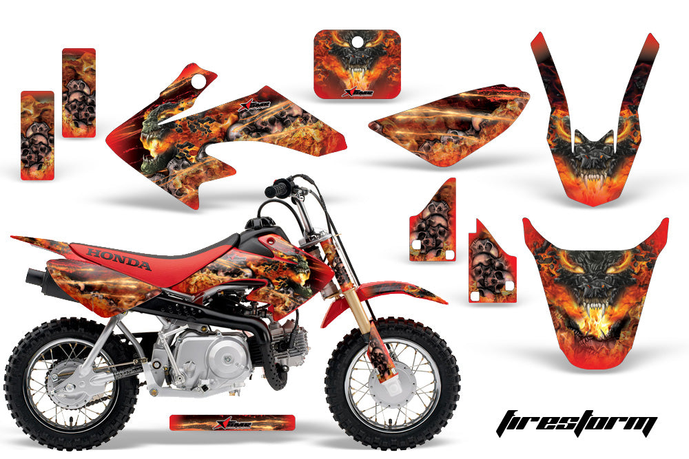 Dirt Bike Graphics Kit Decal Wrap For Honda CRF50 CRF 50 2004-2013 FIRESTORM RED-atv motorcycle utv parts accessories gear helmets jackets gloves pantsAll Terrain Depot