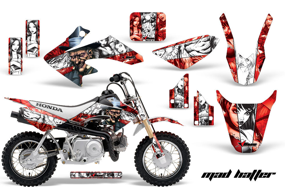 Dirt Bike Graphics Kit Decal Wrap For Honda CRF50 CRF 50 2004-2013 HATTER RED WHITE-atv motorcycle utv parts accessories gear helmets jackets gloves pantsAll Terrain Depot