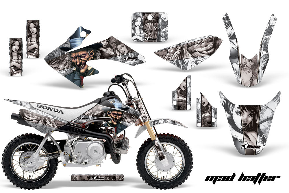 Dirt Bike Graphics Kit Decal Wrap For Honda CRF50 CRF 50 2014-2018 HATTER WHITE SILVER-atv motorcycle utv parts accessories gear helmets jackets gloves pantsAll Terrain Depot