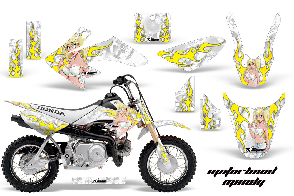 Dirt Bike Graphics Kit Decal Wrap For Honda CRF50 CRF 50 2014-2018 MOTO MANDY WHITE-atv motorcycle utv parts accessories gear helmets jackets gloves pantsAll Terrain Depot