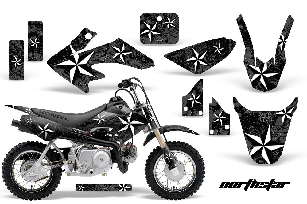 Dirt Bike Graphics Kit Decal Wrap For Honda CRF50 CRF 50 2004-2013 NORTHSTAR BLACK-atv motorcycle utv parts accessories gear helmets jackets gloves pantsAll Terrain Depot