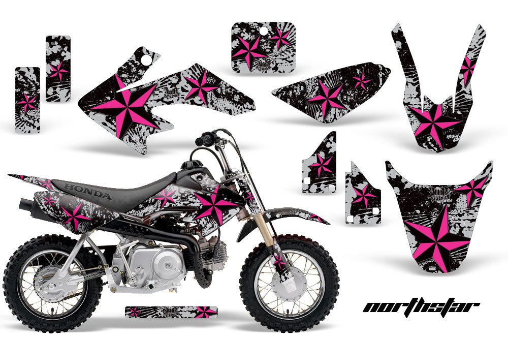 Dirt Bike Graphics Kit Decal Wrap For Honda CRF50 CRF 50 2004-2013 NORTHSTAR PINK SILVER-atv motorcycle utv parts accessories gear helmets jackets gloves pantsAll Terrain Depot