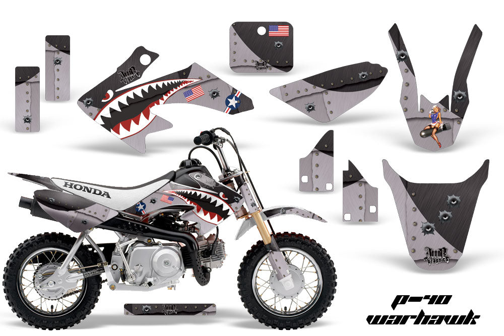 Dirt Bike Graphics Kit Decal Wrap For Honda CRF50 CRF 50 2014-2018 WARHAWK BLACK-atv motorcycle utv parts accessories gear helmets jackets gloves pantsAll Terrain Depot