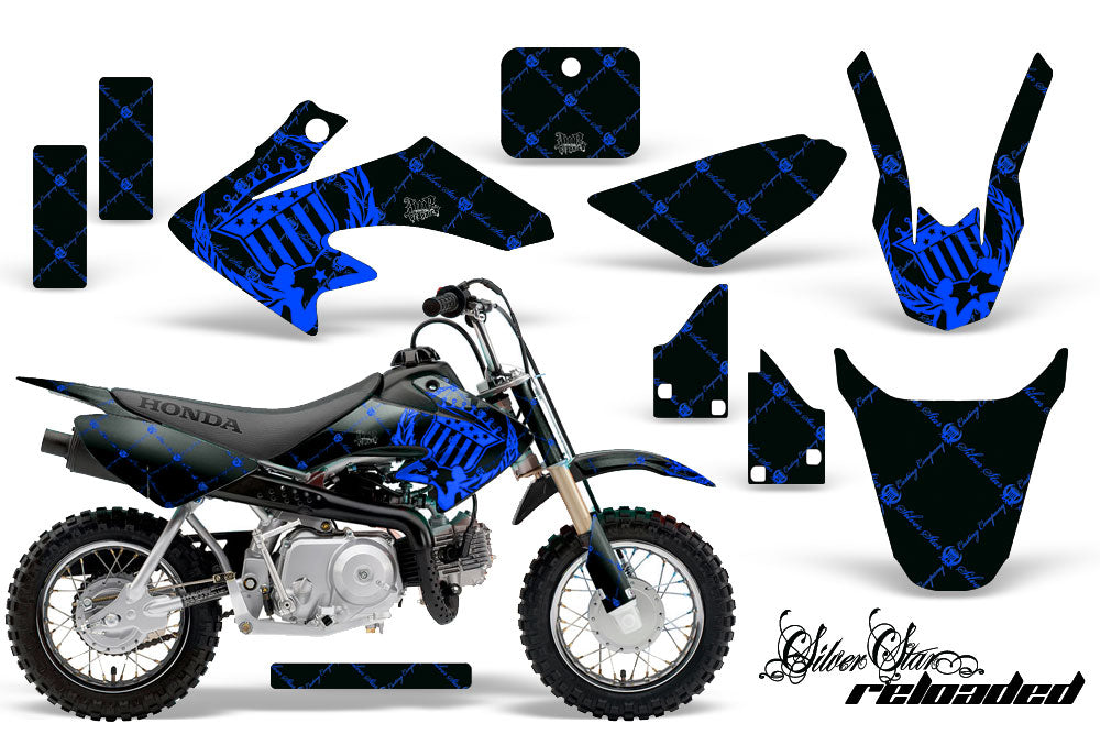 Dirt Bike Graphics Kit Decal Wrap For Honda CRF50 CRF 50 2014-2018 RELOADED BLUE BLACK-atv motorcycle utv parts accessories gear helmets jackets gloves pantsAll Terrain Depot
