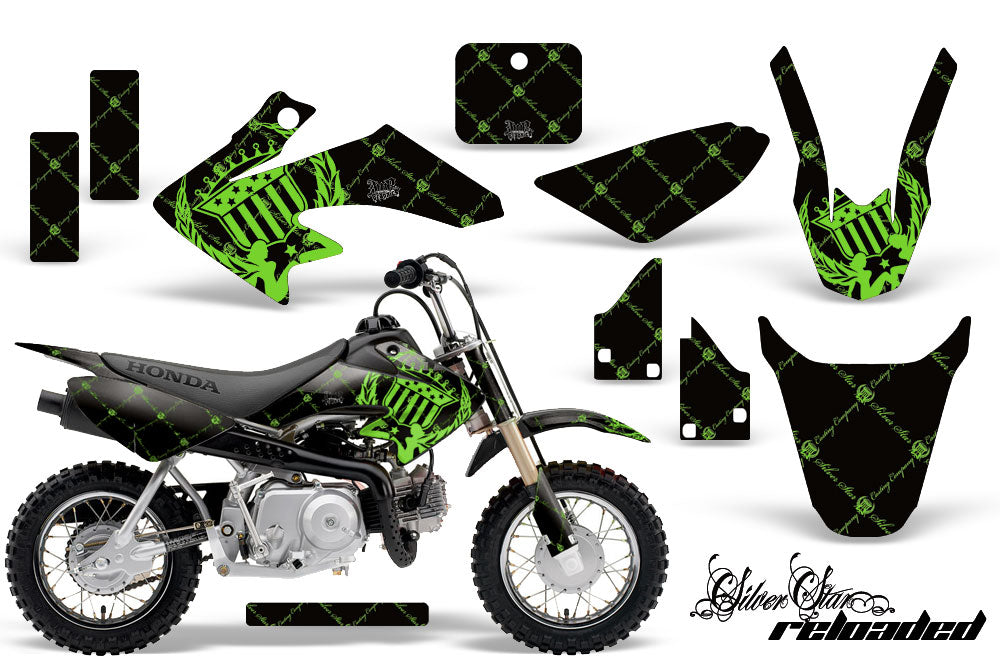 Dirt Bike Graphics Kit Decal Wrap For Honda CRF50 CRF 50 2004-2013 RELOADED GREEN BLACK-atv motorcycle utv parts accessories gear helmets jackets gloves pantsAll Terrain Depot