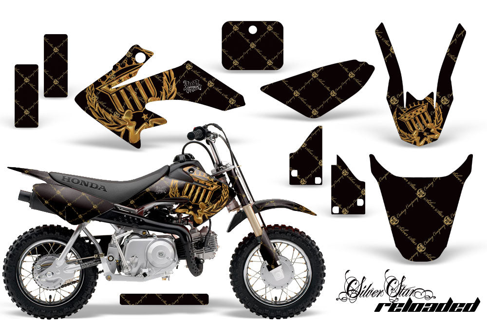 Dirt Bike Graphics Kit Decal Wrap For Honda CRF50 CRF 50 2014-2018 RELOADED BOLD BLACK-atv motorcycle utv parts accessories gear helmets jackets gloves pantsAll Terrain Depot