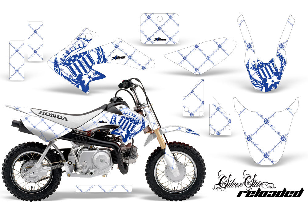 Dirt Bike Graphics Kit Decal Wrap For Honda CRF50 CRF 50 2004-2013 RELOADED WHITE BLUE-atv motorcycle utv parts accessories gear helmets jackets gloves pantsAll Terrain Depot