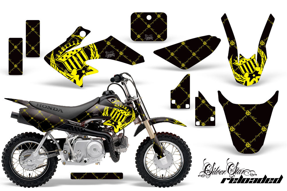Dirt Bike Graphics Kit Decal Wrap For Honda CRF50 CRF 50 2014-2018 RELOADED YELLOW BLACK-atv motorcycle utv parts accessories gear helmets jackets gloves pantsAll Terrain Depot