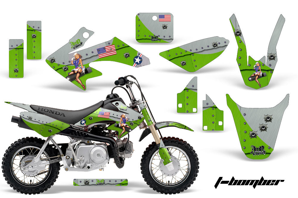 Dirt Bike Graphics Kit Decal Wrap For Honda CRF50 CRF 50 2004-2013 TBOMBER GREEN-atv motorcycle utv parts accessories gear helmets jackets gloves pantsAll Terrain Depot