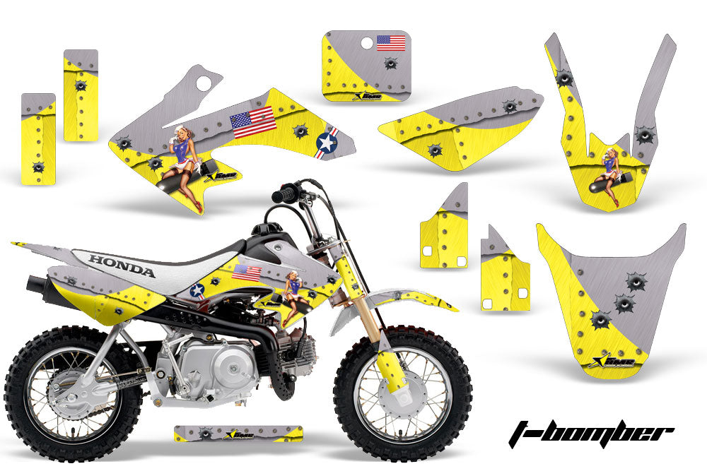 Dirt Bike Graphics Kit Decal Wrap For Honda CRF50 CRF 50 2004-2013 TBOMBER YELLOW-atv motorcycle utv parts accessories gear helmets jackets gloves pantsAll Terrain Depot