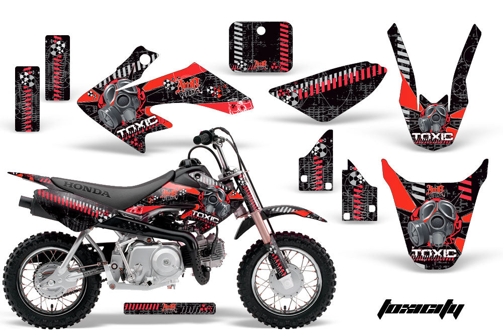 Dirt Bike Graphics Kit Decal Wrap For Honda CRF50 CRF 50 2004-2013 TOXIC RED BLACK-atv motorcycle utv parts accessories gear helmets jackets gloves pantsAll Terrain Depot