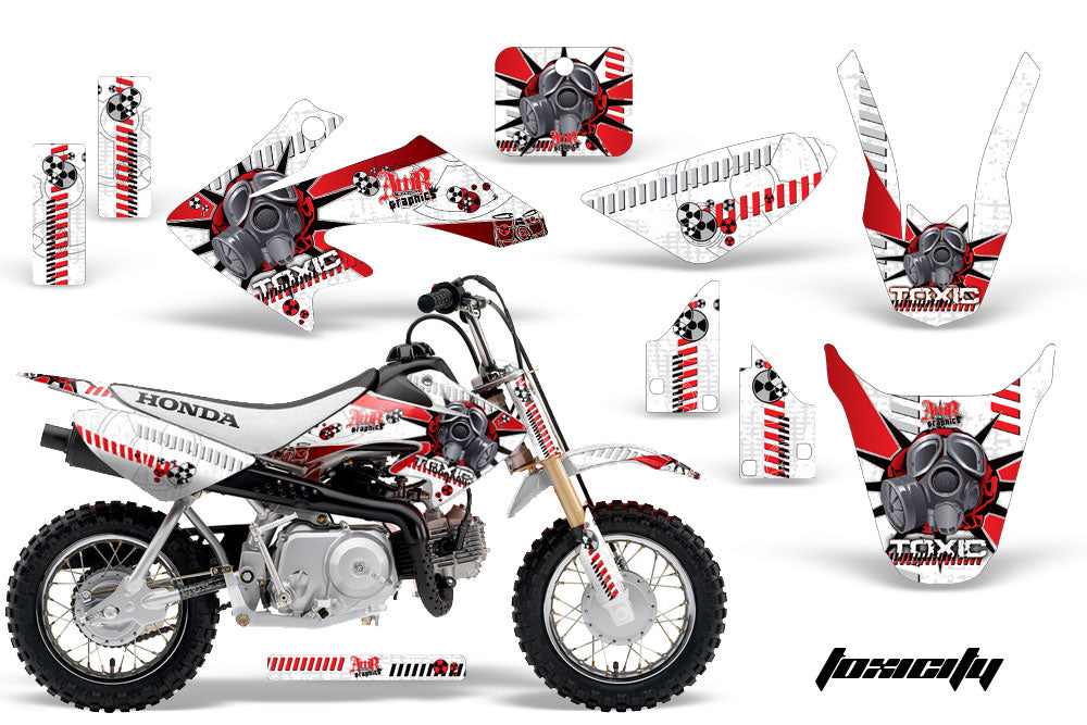 Dirt Bike Graphics Kit Decal Wrap For Honda CRF50 CRF 50 2004-2013 TOXIC RED WHITE-atv motorcycle utv parts accessories gear helmets jackets gloves pantsAll Terrain Depot