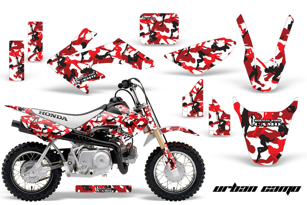 Dirt Bike Graphics Kit Decal Wrap For Honda CRF50 CRF 50 2014-2018 URBAN CAMO RED-atv motorcycle utv parts accessories gear helmets jackets gloves pantsAll Terrain Depot
