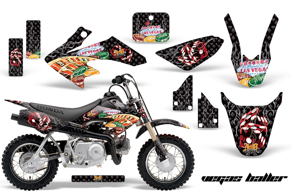 Dirt Bike Graphics Kit Decal Wrap For Honda CRF50 CRF 50 2014-2018 VEGAS BLACK-atv motorcycle utv parts accessories gear helmets jackets gloves pantsAll Terrain Depot