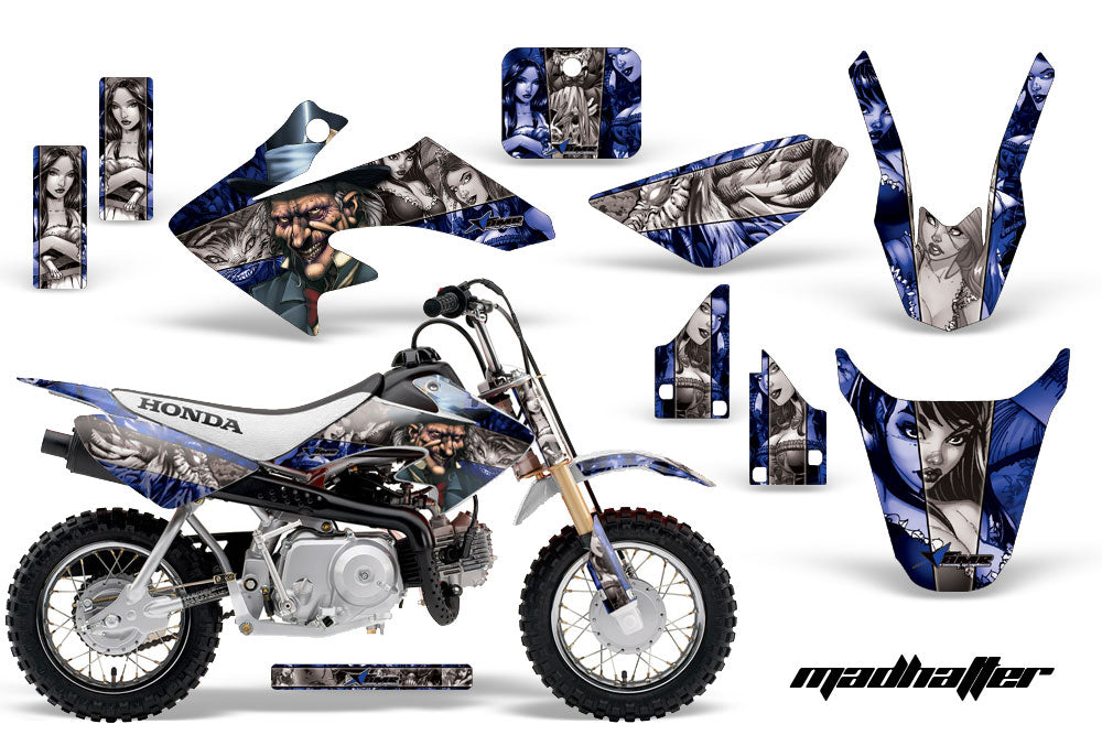 Dirt Bike Graphics Kit Decal Wrap For Honda CRF50 CRF 50 2014-2018 HATTER SILVER BLUE-atv motorcycle utv parts accessories gear helmets jackets gloves pantsAll Terrain Depot