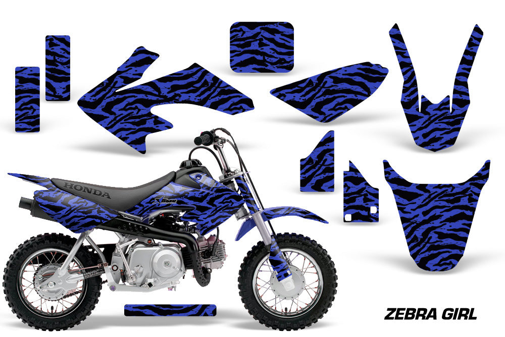 Dirt Bike Graphics Kit Decal Wrap For Honda CRF50 CRF 50 2004-2013 ZEBRA BLUE BLACK-atv motorcycle utv parts accessories gear helmets jackets gloves pantsAll Terrain Depot