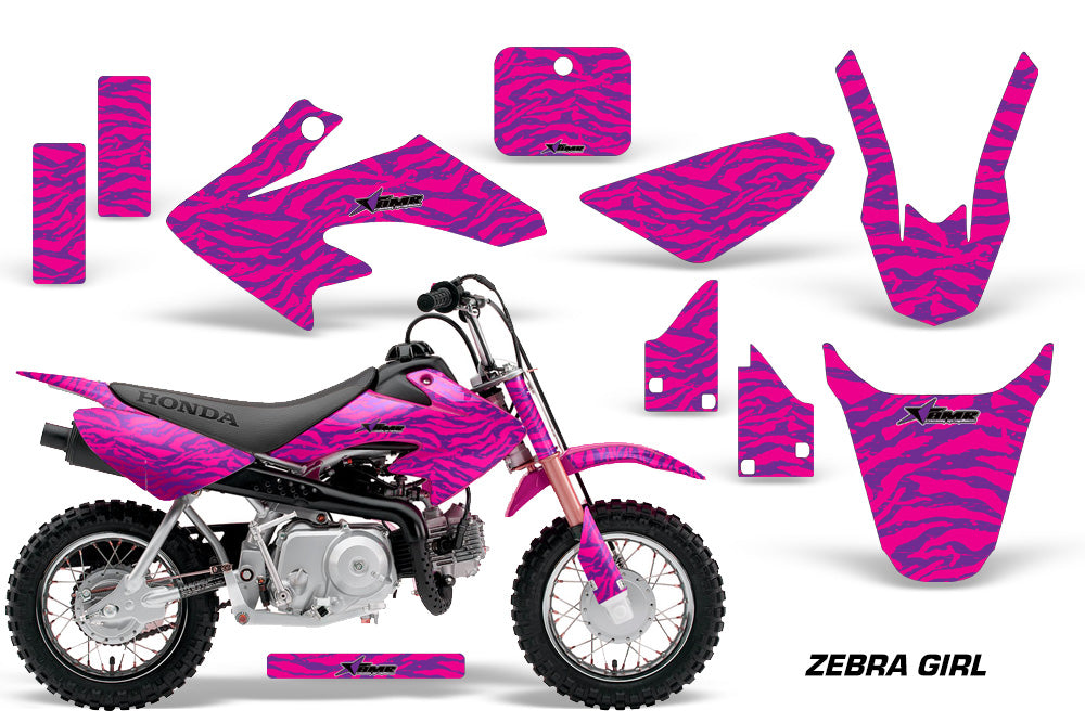 Dirt Bike Graphics Kit Decal Wrap For Honda CRF50 CRF 50 2004-2013 ZEBRA PINK PURPLE-atv motorcycle utv parts accessories gear helmets jackets gloves pantsAll Terrain Depot