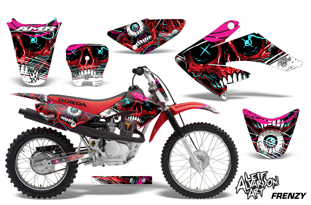 Dirt Bike Graphics Kit Decal Sticker Wrap For Honda CRF80 2004-2010 FRENZY RED-atv motorcycle utv parts accessories gear helmets jackets gloves pantsAll Terrain Depot