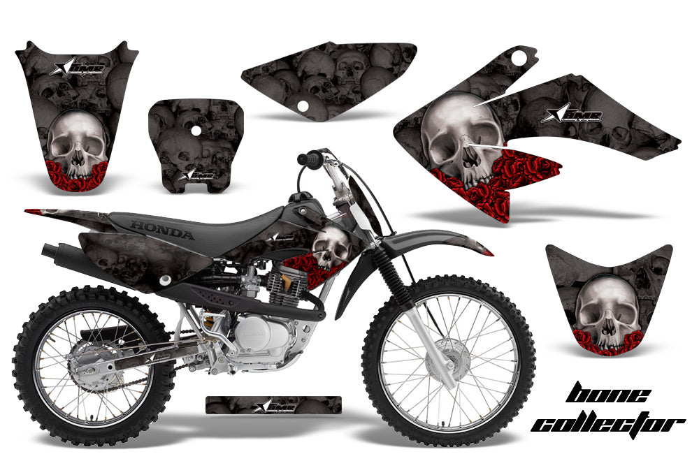 Dirt Bike Graphics Kit Decal Sticker Wrap For Honda CRF70 2004-2015 BONES BLACK-atv motorcycle utv parts accessories gear helmets jackets gloves pantsAll Terrain Depot