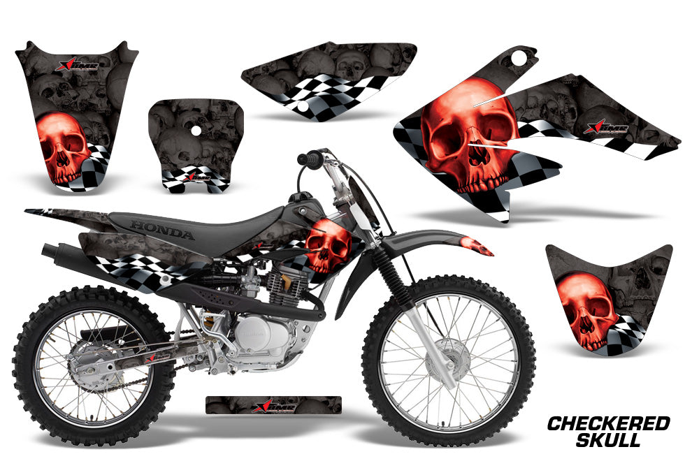 Dirt Bike Graphics Kit Decal Sticker Wrap For Honda CRF70 2004-2015 CHECKERED RED BLACK-atv motorcycle utv parts accessories gear helmets jackets gloves pantsAll Terrain Depot