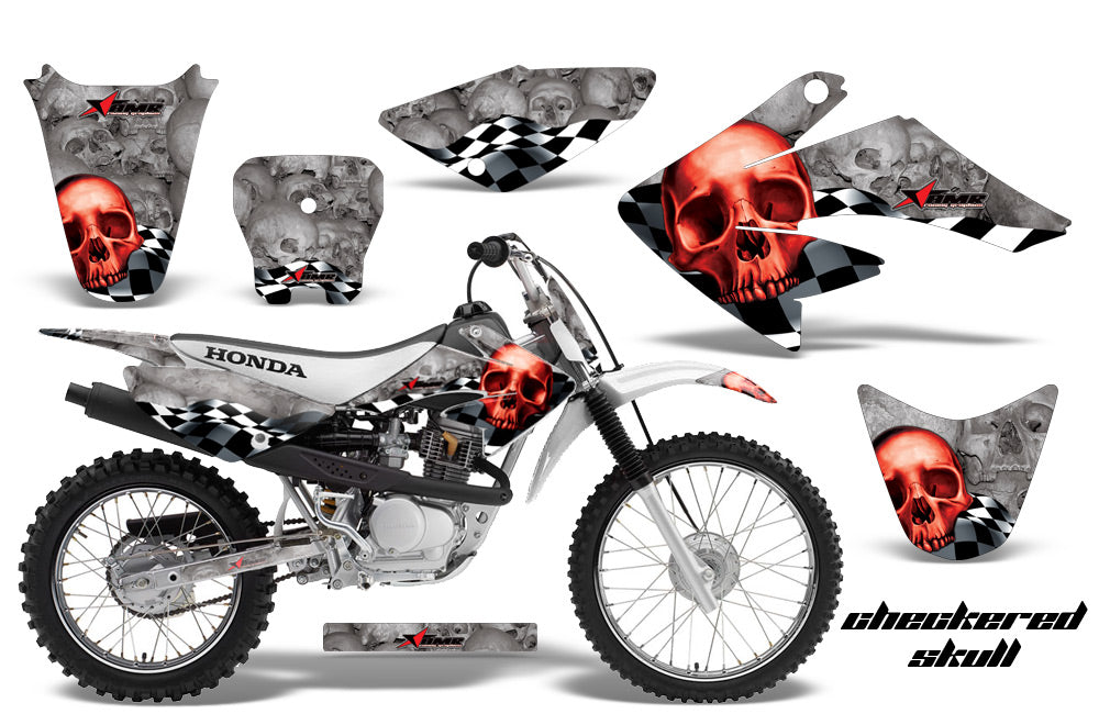 Dirt Bike Graphics Kit Decal Sticker Wrap For Honda CRF80 2004-2010 CHECKERED RED SILVER-atv motorcycle utv parts accessories gear helmets jackets gloves pantsAll Terrain Depot