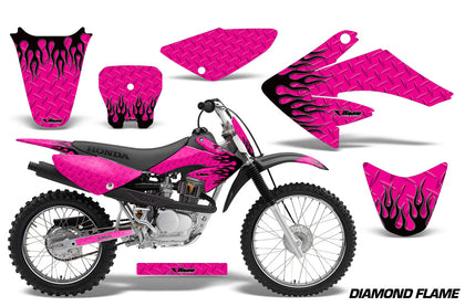 Dirt Bike Graphics Kit Decal Sticker Wrap For Honda CRF70 2004-2015 DIAMOND FLAMES BLACK PINK