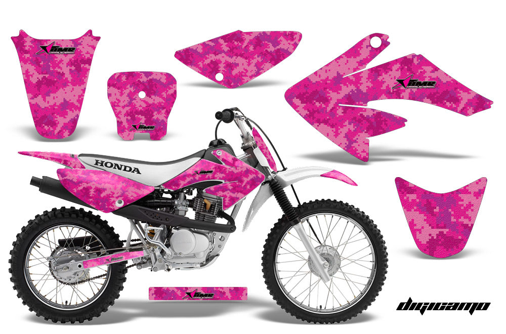 Dirt Bike Graphics Kit Decal Sticker Wrap For Honda CRF70 2004-2015 DIGICAMO PINK-atv motorcycle utv parts accessories gear helmets jackets gloves pantsAll Terrain Depot