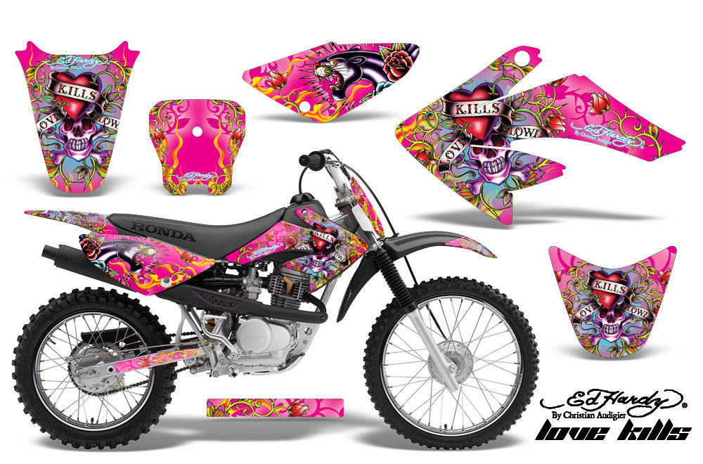 Dirt Bike Graphics Kit Decal Sticker Wrap For Honda CRF80 2004-2010 EDHLK PINK-atv motorcycle utv parts accessories gear helmets jackets gloves pantsAll Terrain Depot