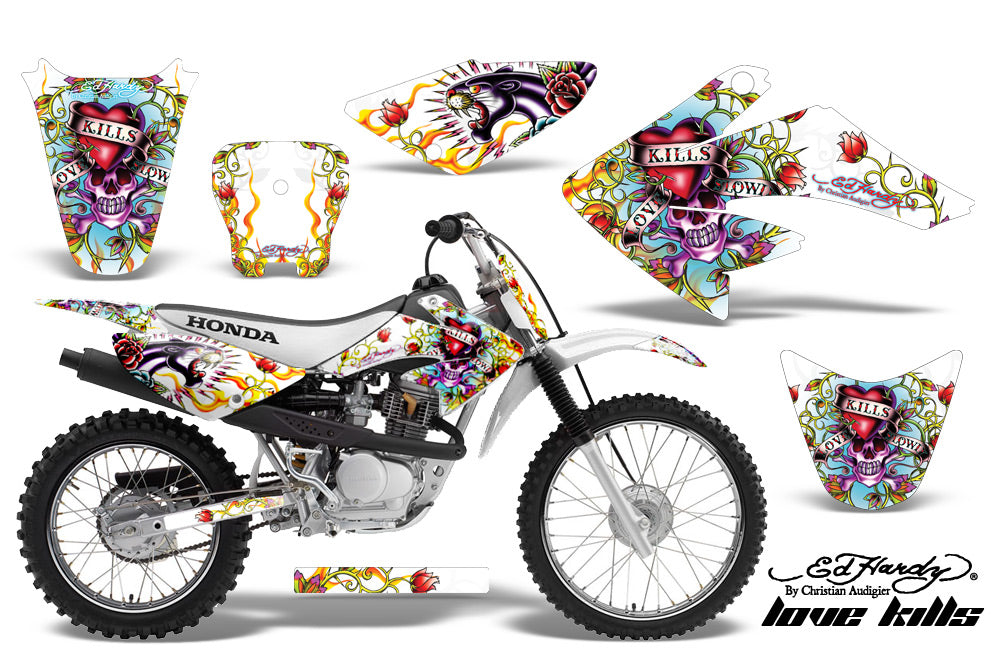 Dirt Bike Graphics Kit Decal Sticker Wrap For Honda CRF80 2004-2010 EDHLK WHITE-atv motorcycle utv parts accessories gear helmets jackets gloves pantsAll Terrain Depot