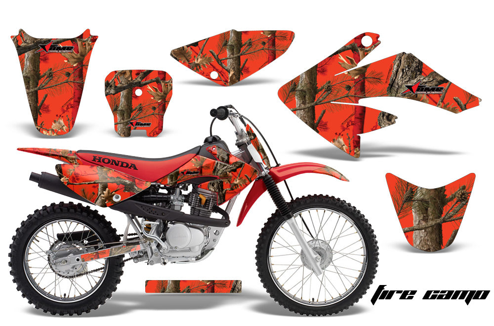 Dirt Bike Graphics Kit Decal Sticker Wrap For Honda CRF70 2004-2015 FIRE CAMO RED-atv motorcycle utv parts accessories gear helmets jackets gloves pantsAll Terrain Depot