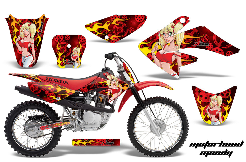 Dirt Bike Graphics Kit Decal Sticker Wrap For Honda CRF80 2004-2010 MOTO MANDY RED-atv motorcycle utv parts accessories gear helmets jackets gloves pantsAll Terrain Depot