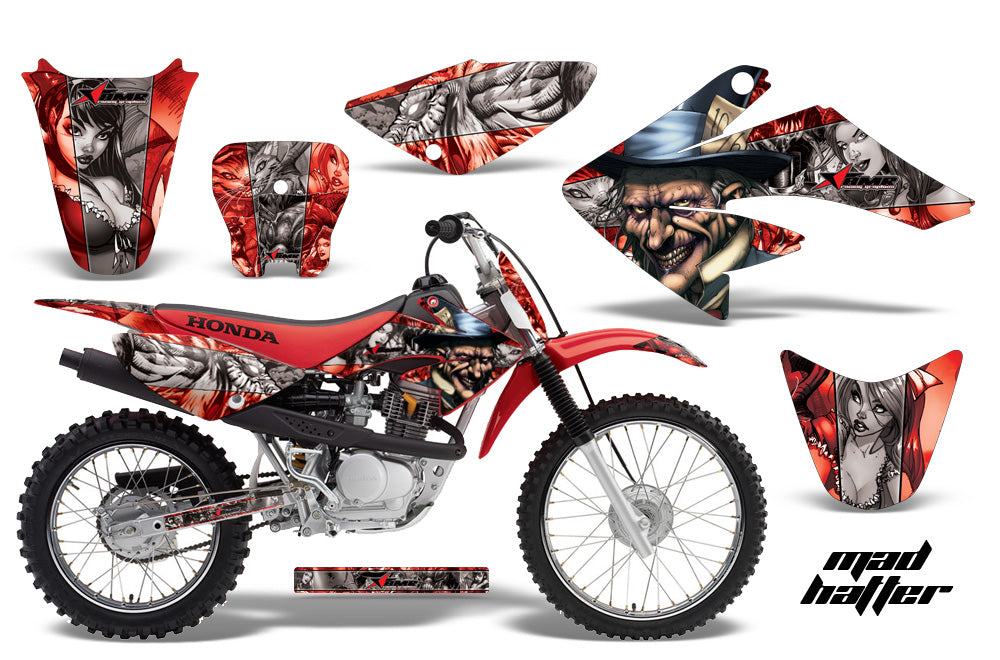 Dirt Bike Graphics Kit Decal Sticker Wrap For Honda CRF80 2004-2010 HATTER SILVER RED-atv motorcycle utv parts accessories gear helmets jackets gloves pantsAll Terrain Depot