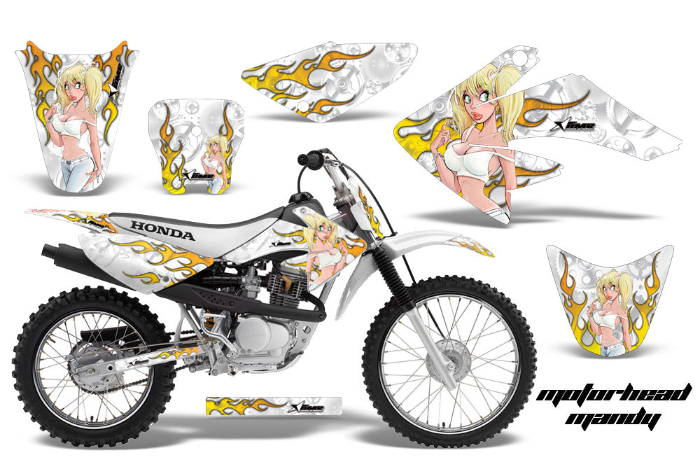 Dirt Bike Graphics Kit Decal Sticker Wrap For Honda CRF80 2004-2010 MOTO MANDY WHITE-atv motorcycle utv parts accessories gear helmets jackets gloves pantsAll Terrain Depot