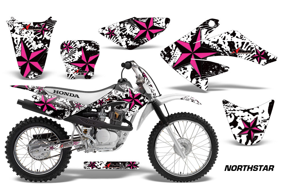 Dirt Bike Graphics Kit Decal Sticker Wrap For Honda CRF80 2004-2010 NORTHSTAR PINK WHITE-atv motorcycle utv parts accessories gear helmets jackets gloves pantsAll Terrain Depot