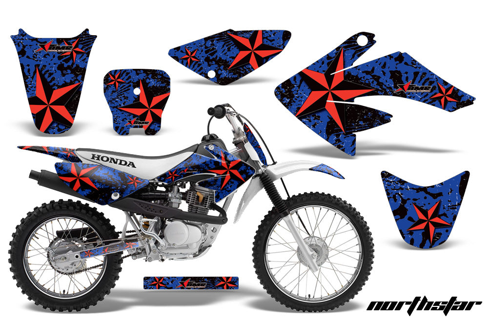 Dirt Bike Graphics Kit Decal Sticker Wrap For Honda CRF80 2004-2010 NORTHSTAR RED BLUE-atv motorcycle utv parts accessories gear helmets jackets gloves pantsAll Terrain Depot