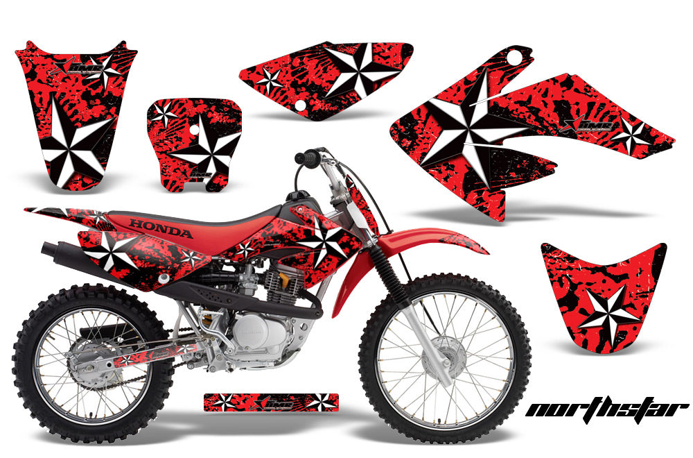 Dirt Bike Graphics Kit Decal Sticker Wrap For Honda CRF70 2004-2015 NORTHSTAR RED-atv motorcycle utv parts accessories gear helmets jackets gloves pantsAll Terrain Depot