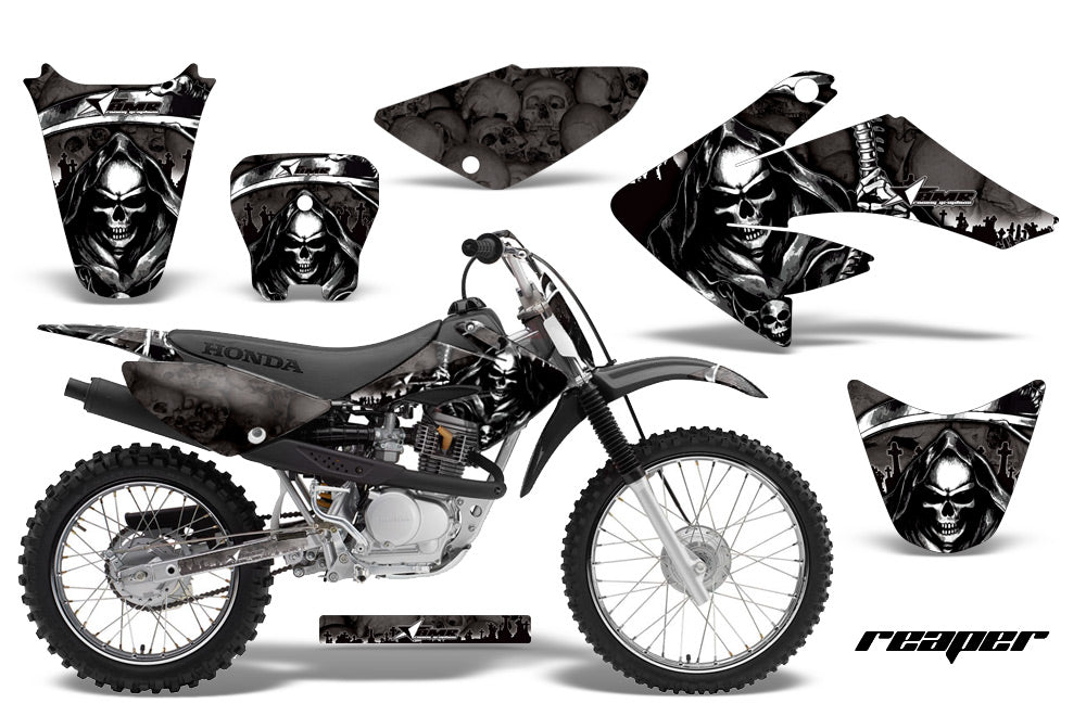 Dirt Bike Graphics Kit Decal Sticker Wrap For Honda CRF80 2004-2010 REAPER BLACK-atv motorcycle utv parts accessories gear helmets jackets gloves pantsAll Terrain Depot