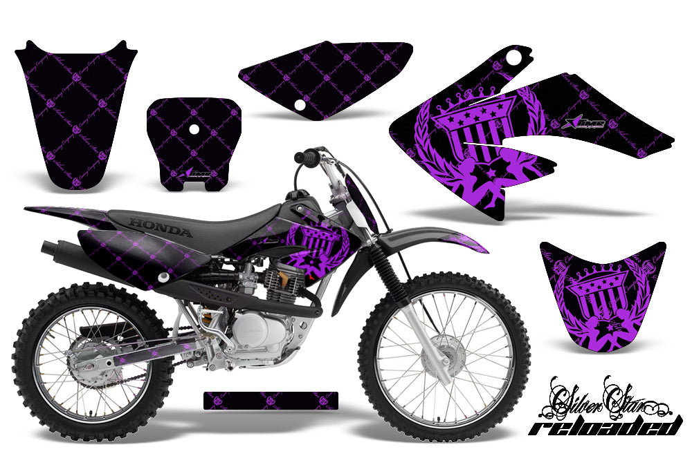 Dirt Bike Graphics Kit Decal Sticker Wrap For Honda CRF70 2004-2015 RELOADED PURPLE BLACK-atv motorcycle utv parts accessories gear helmets jackets gloves pantsAll Terrain Depot