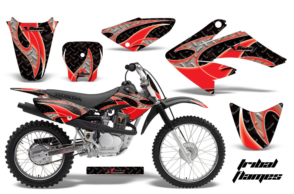 Dirt Bike Graphics Kit Decal Sticker Wrap For Honda CRF80 2004-2010 TRIBAL RED BLACK-atv motorcycle utv parts accessories gear helmets jackets gloves pantsAll Terrain Depot